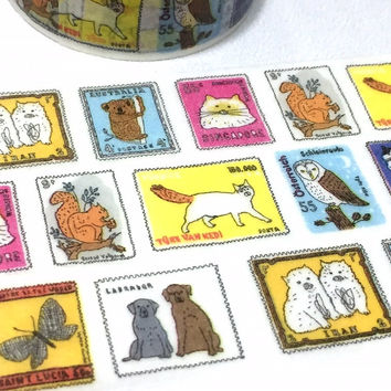 animal drawing postage stamp washi tape 5M x 2cm cute postage stamp cat dog butterfly owl koala owl country postcard stamp decor gift tape