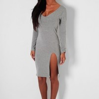 Charm Grey Bodycon Front Split Dress | Pink Boutique