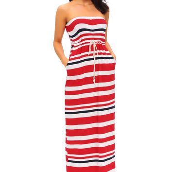 Chicloth Nautical Red Stripe Print Strapless Maxi Dress