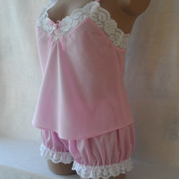 Pink Lingerie Babydoll & Bloomers Set White Lace Handmade Cotton