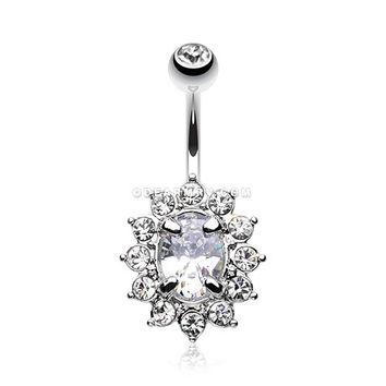 Flower Dazzle Sparkle Belly Button Ring (Clear)