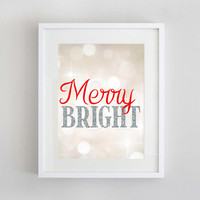 Merry & Bright Christmas Print  | Red and Silver Christmas Printable Wall Art | 8x10 Instant Download