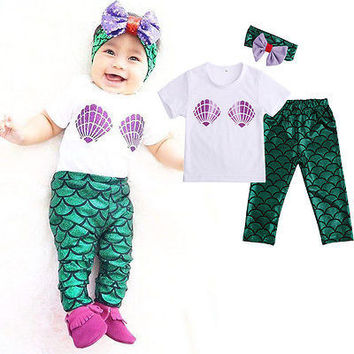 2016 Baby Set Dot Cotton Baby Girl Clothes Kids Clothing Set  Shell Tops T-shirt+Mermaid Leggings Outfits Set 0-24M
