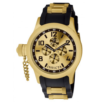 Invicta 1803 Men's Russian Diver Lefty Gold Tone Dial Black Rubber Strap Multifunction Watch
