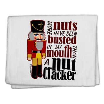"""More Nuts Busted - My Mouth 11""""x18"""" Dish Fingertip Towel by TooLoud"""