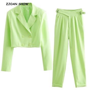 2019 New Vintage Double-Breasted Short Blazer Bright Green High Waist Small Straight Pants Women Long Sleeve Suits 2 Pieces Set