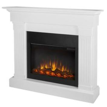 Shop Real Flame 47.4-in W 4780-BTU White Wood LED Electric Fireplace with Thermostat with Remote Control at Lowes.com