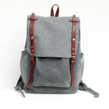 The Rucksack in Gray Wool and Waxed Canvas