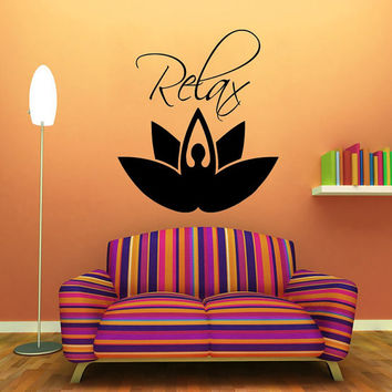 Wall Decals Vinyl Decal Sticker Girl Relax Lotus Flower Yoga Studio Gym Interior Design Art Mural Mandala Living Room Bedroom Decor KT130