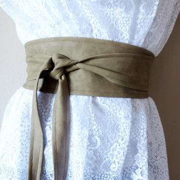 Taupe vegan leather obi belt -  brown sash belt, fall fashion, womens accessories, taupe belt
