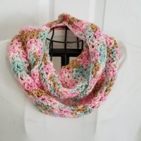 Women's Multi Color Infinity Scarf Loop Cowl Handmade Crochet Soft Clothing