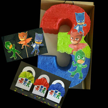 Party pack 2: Number pinata inspired by PJ mask + 3 cake toppers+ 12 mini box favors