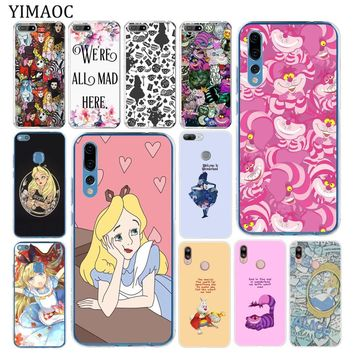 YIMAOC Alice in Wonderland cat Soft Tpu Silicone Phone Case for Huawei P20 Pro P10 P8 P9 Mate 10 Lite 2017 2016 P smart Cover