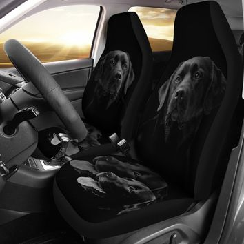 Black Labrador Retriever Print Car Seat Covers- Free Shipping
