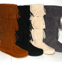 Women's Faux Suede Moccasin Fringe Mid Calf Boots in Black, Camel, Grey, Beige (6.5, Gray)
