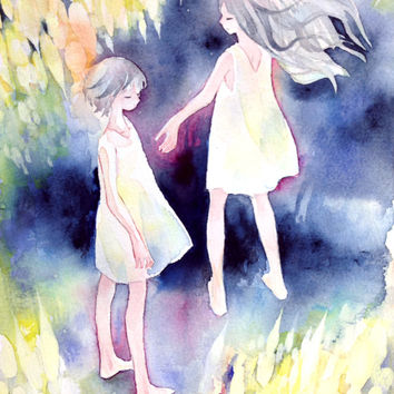Original Painting  B5-size  - meteor shower,fantasy illustration,girl illustration, watercolor, acrylic