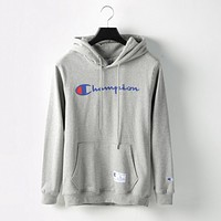 Champion print sweater grey hoodie pullover