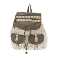 Gray Elephant Print Backpack