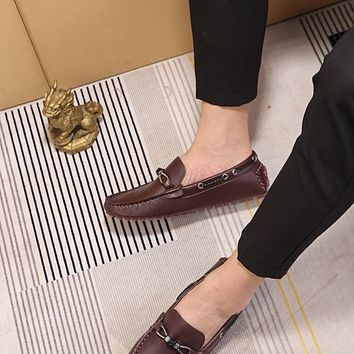 LV Louis Vuitton Men's 2019 New Vintage Leather Casual Loafer Shoes Brown Best Quality