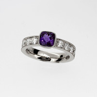 Cushion cut amethyst and 0.80ct Diamond solitaire ring, white gold, cushion, amethyst engagement, bezel, diamond, milgrain, purple wedding