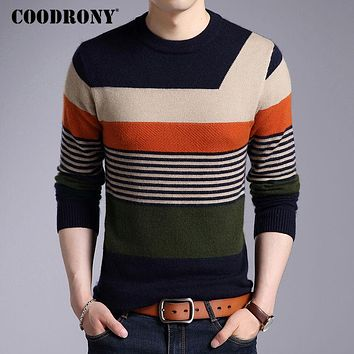 Men New Winter Thick Warm Wool Pullover Fleece Mink Cashmere Sweaters Casual Striped O-neck Pull Home