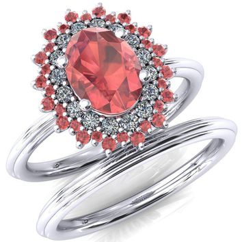 Eridanus Oval Padparadscha Sapphire Cluster Diamond and Padparadscha Sapphire Halo Wedding Ring ver.2