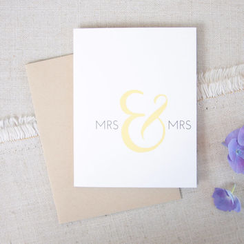 Mrs & Mrs Wedding Congratulations Card, Lesbian Wedding, Elegant Wedding Congrats Card