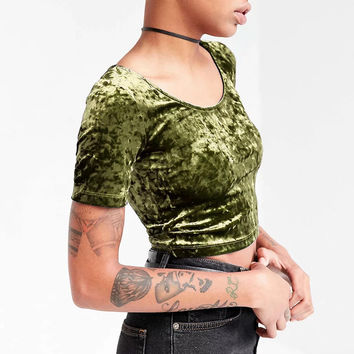 Women O neck Velvet Crop Top All Match Short Sleeve Slim Velvet T-shirts O Neck Slim Sexy Casual Velvet Crop Tops