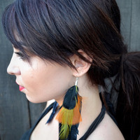 Halloween Feather Earrings - Feather Jewelry - Orange Black Feathers - Hippie Earrings - Festivals - Raves - Tribal