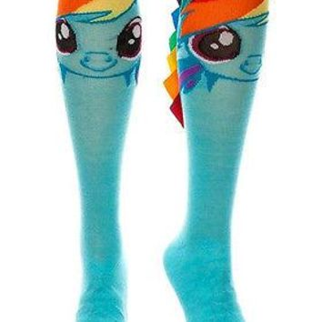 My Little Pony Rainbow Dash Cosplay Costume Long Knee High Boot Socks with Mane