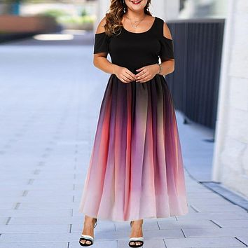 Mock 2pc Plus Size Women's Ombré Dress