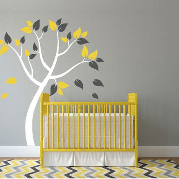 Nursery Wall Decal, Blowing Tree with Colorful Leaves