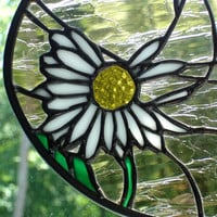 Daisy in the wind stained glass panel suncatcher window art home decor