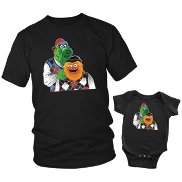 Mascot Brothers Father Son Shirt and Bodysuit Set