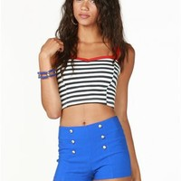 A'GACI Cage Back Stripe Crop Top - Cropped