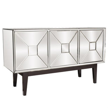 Howard Elliott Pyramid Door Mirrored Cabinet 68086