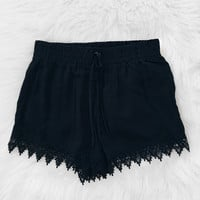 Crochet Trim Shorts (Black)