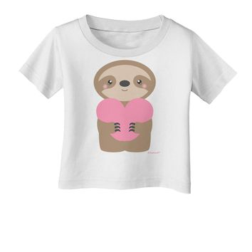 Cute Valentine Sloth Holding Heart Infant T-Shirt by TooLoud