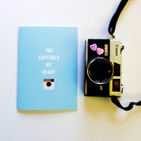 Fun Valentine's Day Card - You Captured My Heart -  Cute Fun Modern Funny - 5x7