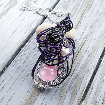 Wire Wrapped Pendant - Pink Pearl Necklace - Gothic Necklace - Gift for Mom - Gift for her - Wire wrapped Jewelry - Statement Necklace