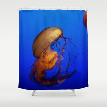 Blue Jellyfish Shower Curtain by UMe Images