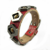Fashion Punk Rivets Adjustable Leather Wristband Cuff Bracelet - Great for Men, Women, Teens, Boys, Girls 2548S