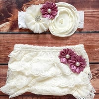 Baby diaper cover headband, lace shabby bloomer set, cream, diaper ruffle cover, newborn, girls white, purple, pink, cream, rose, blue, Aqua