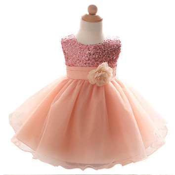 Baby Girl Dress Wedding Baptism Princess Dresses for Flower Girls kids Clothes Newborn 1 year Birthday Tutu infant Dress girl