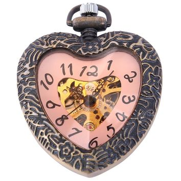 Romantic Craft Heart Hollow Skeleton Red Dial Hand Winding Mechanical Movement Fob Pocket Watches Gift + Long Clip Chain /WPK128