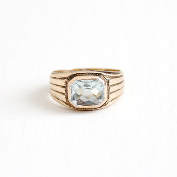 Antique 10k Rosy Yellow Gold Men's 3 Carat Aquamarine Ring - Size 10 Vintage Art Deco 1930s Blue Gemstone Fine Antique Jewelry