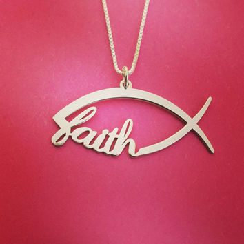 Sign Of The Fish Necklace Christian Fish Necklace Christmas Gift Ichthus Necklace Jesus Fish Silver Fish Necklace Christian Fish Nameplate