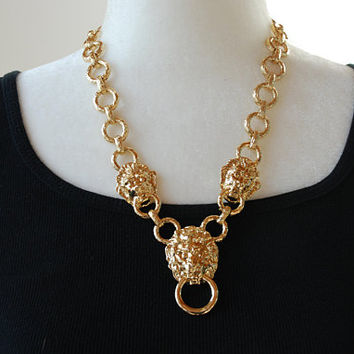 Vintage KJL Necklace Kenneth Jay Lane Lion Head Door Knocker Adjustable Length Runway Mother's Day 1980's / Vintage Designer Costume Jewelry