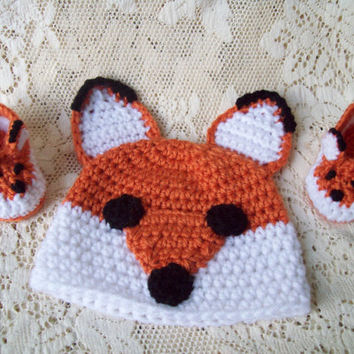Fox Baby Crochet Set, Crochet Baby Fox Hat and Booties, Newborn Crochet Fox Baby Set, Newborn Photo Prop