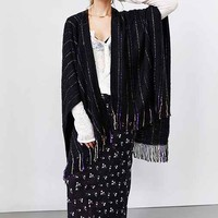 Pinstripe Fringe Open Poncho- Black Multi One